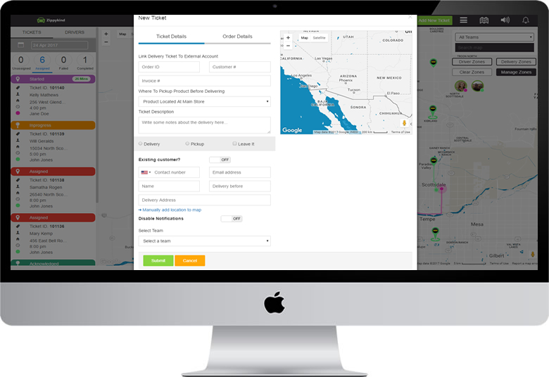 dispatch software creating new delivery ticket