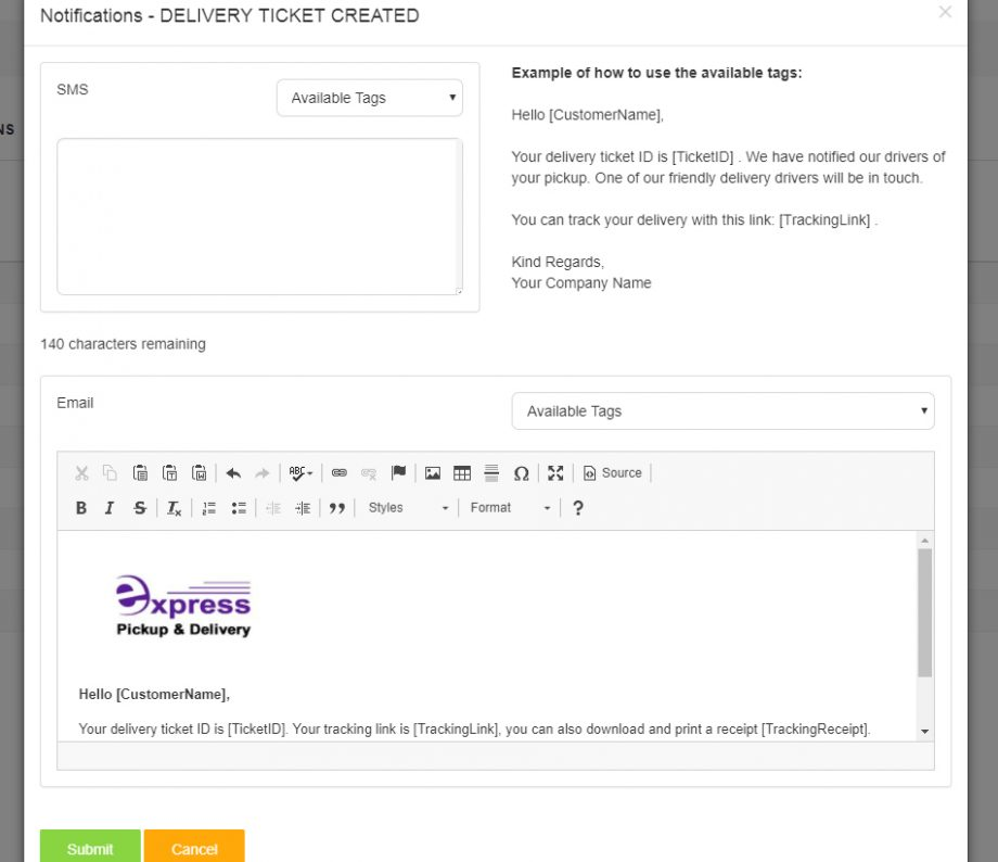 Delivery Software Customer Notification Templates Zippykind Docs