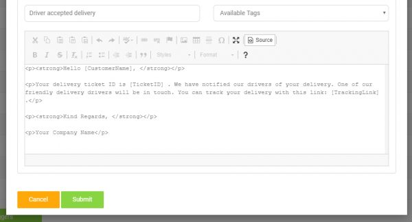 Email Notification Template Tags